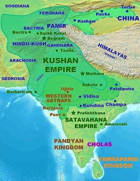 кушанская империя карта. история индии. хинди