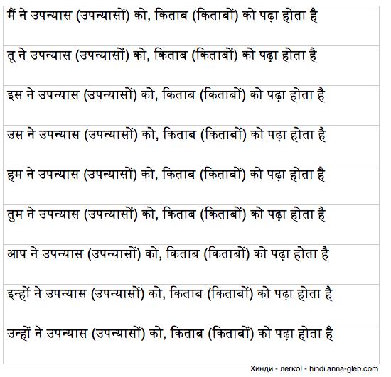 настоящее совершенное обычное время в хинди таблица 3