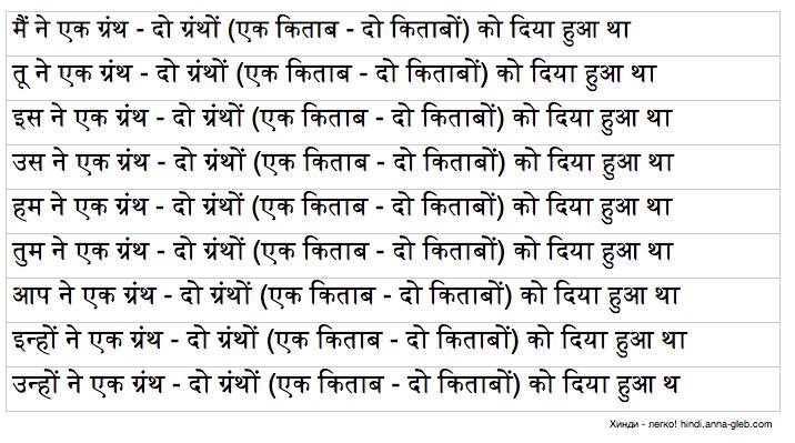 прошедшее продолженное обычное время в хинди таблица 3